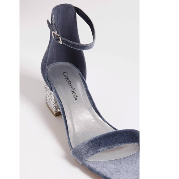 66ed6454cd Cityclassified Shoes | Blue Velvet Silver Glitter Block Heel Sandal ...